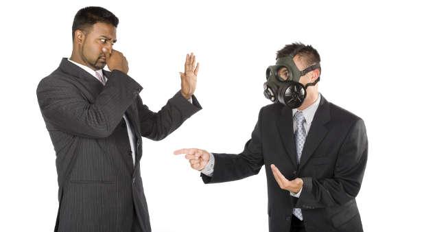 Leader with gasmask