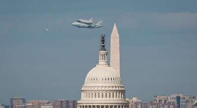 U.S. capitol, washington monument, space shuttle